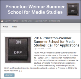Princeton-Weimar Summer School 2014