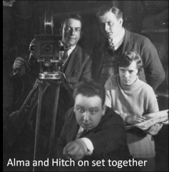 Alma and Hitch on set together