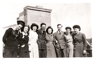 Florence Wall (fourth from right), usherette at the Ambassador cinema, Cosham. © Image courtesy of Eva Balogh's private collection.