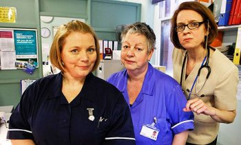 Joanna Scanlan with Jo Brand and Vicki Pepperdine in Getting On