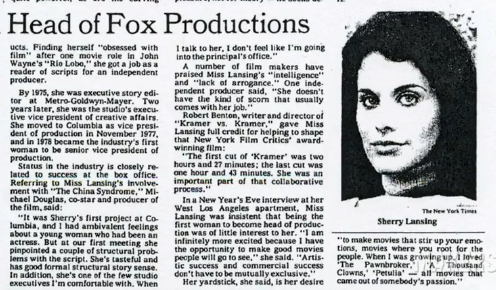 Sherry Lansing, Head of Fox Productions, 1980